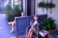 Good morning on the Travelodge LAX patios for Jerry and Ann