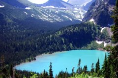 Grinnell Lake from trail 900 feet above