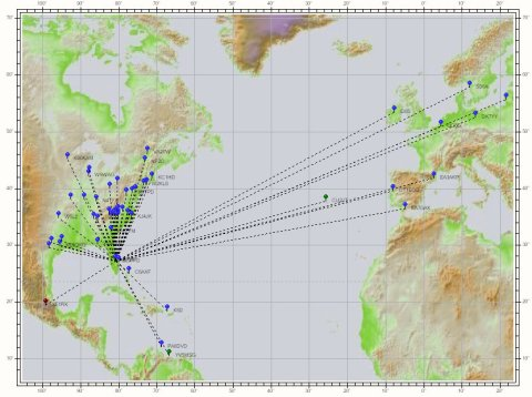 Map of two-way radio contacts I've made from Florida