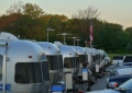 The Airstreams are lined up in their places