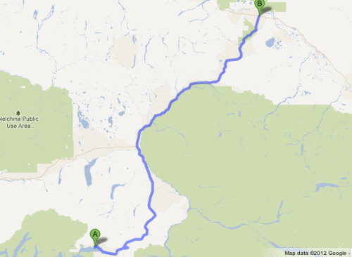 google map of day's drive