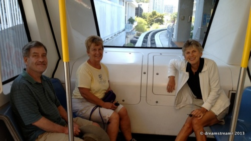 pic of us sitting in the commuter trolley